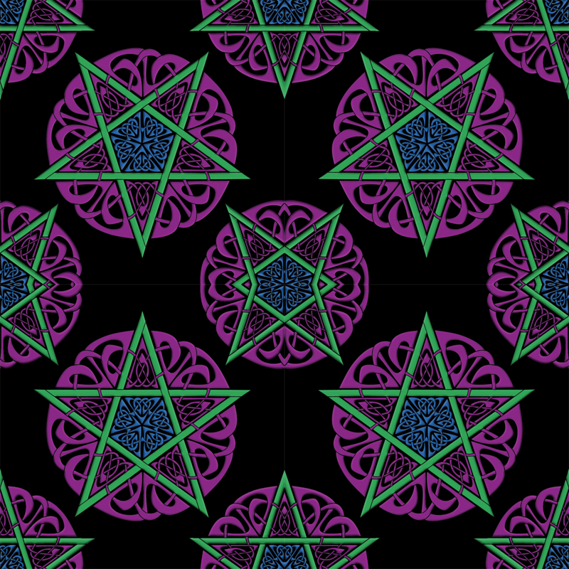 Pagan Pentacle Wallpaper Small knotwork pentacles on 800x800