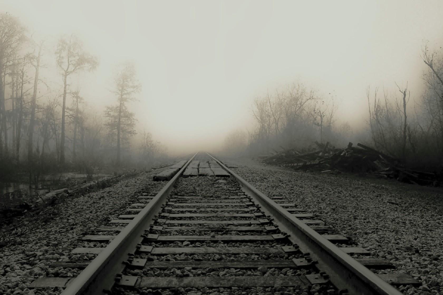 trains fog railroad tracks vehicles train rails HD Wallpaper of Anime 1680x1120