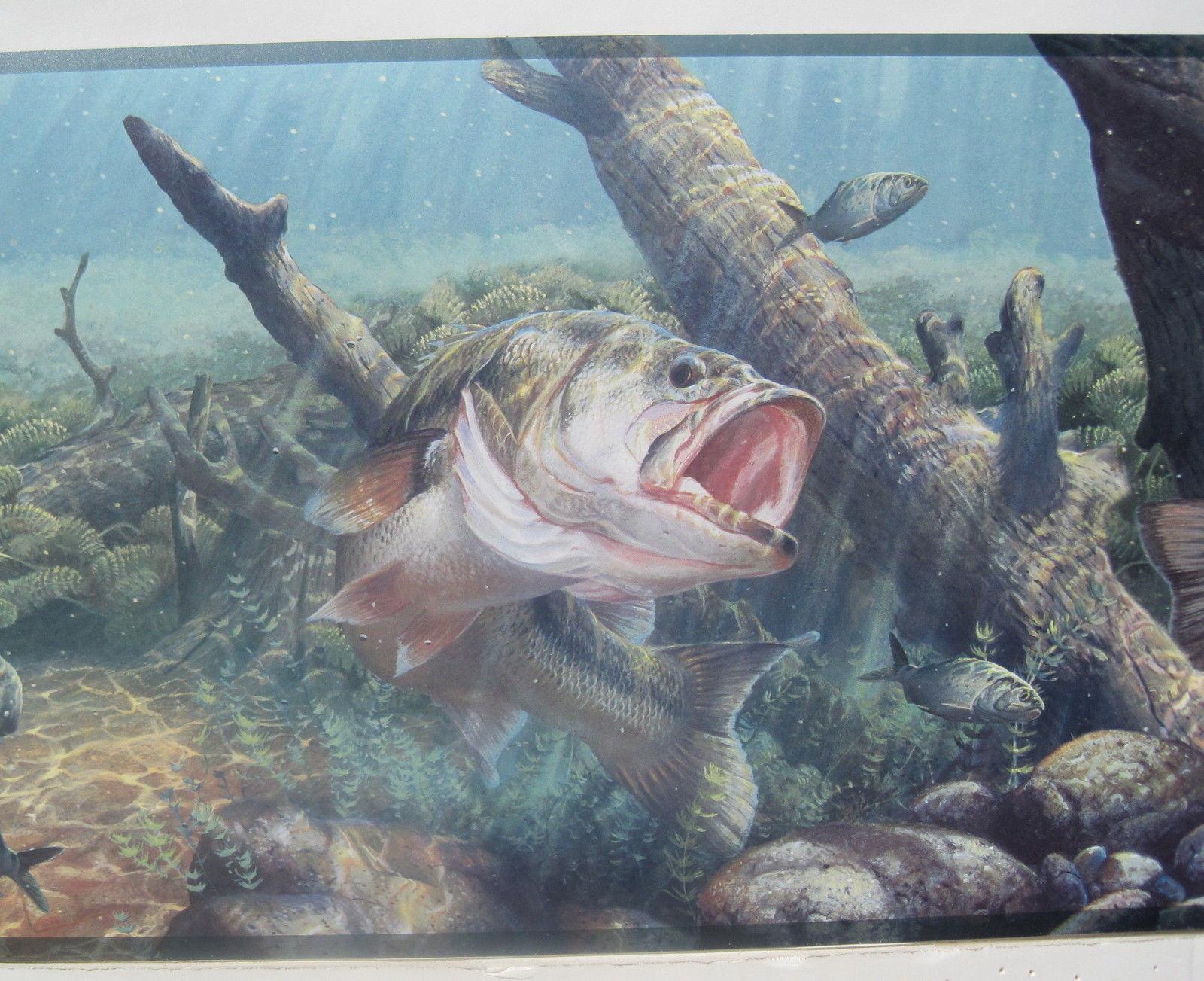 BASS FISHING FRESH WATER FISHING Wallpaper Border 9 57jpg 1600x1303