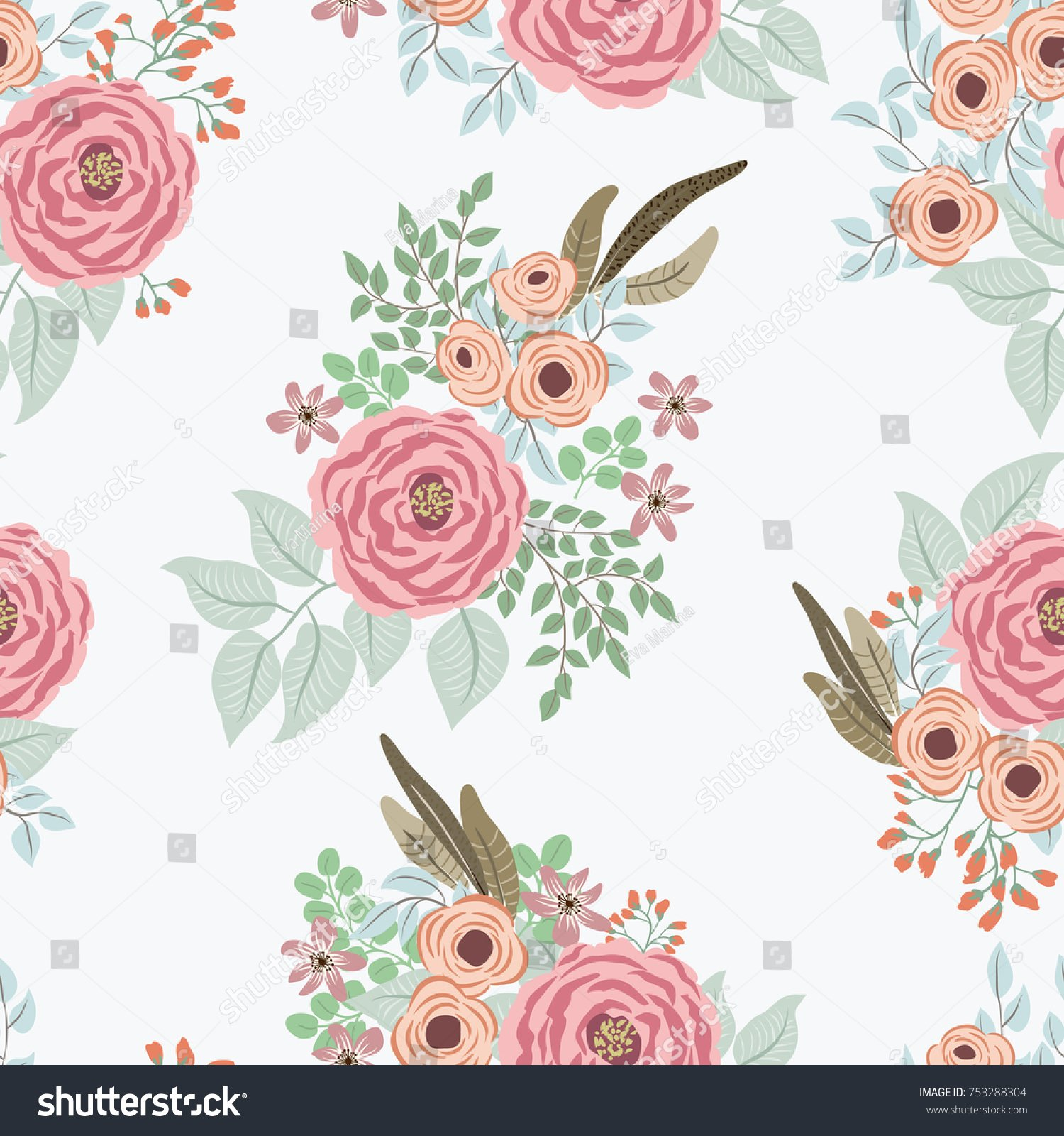 Fashion Seamless Pattern Feathers Antique Roses Stock Vector 1500x1600