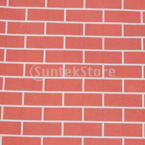 Dollhouse Miniature Wallpaper Self adhesive Wall Paper   Red Brick 500x500