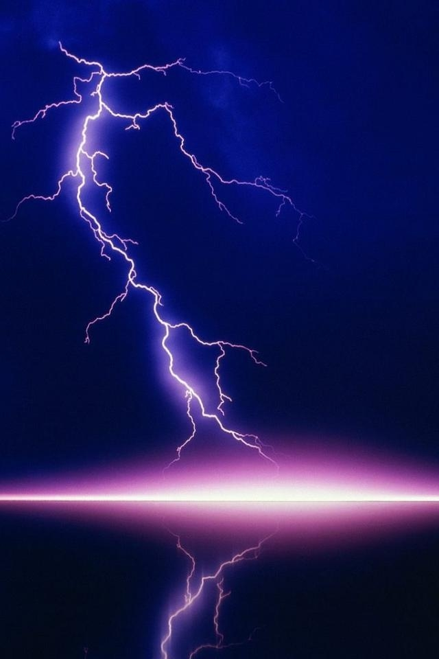 Purple Lightning Lake iPhone HD Wallpaper iPhone HD Wallpaper 640x960