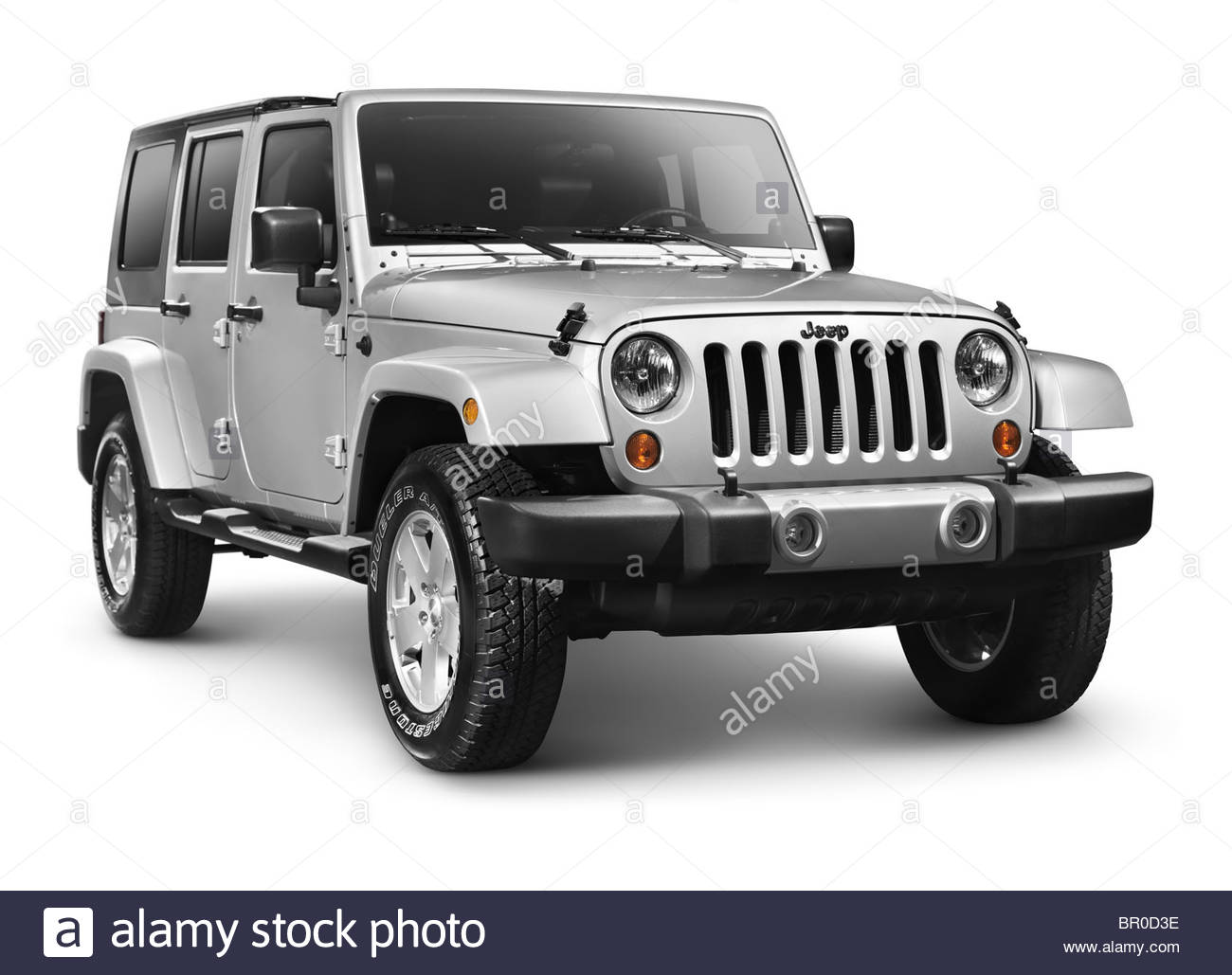 Silver 2011 Jeep Wrangler Unlimited Sahara 4x4 SUV isolated on 1300x1029
