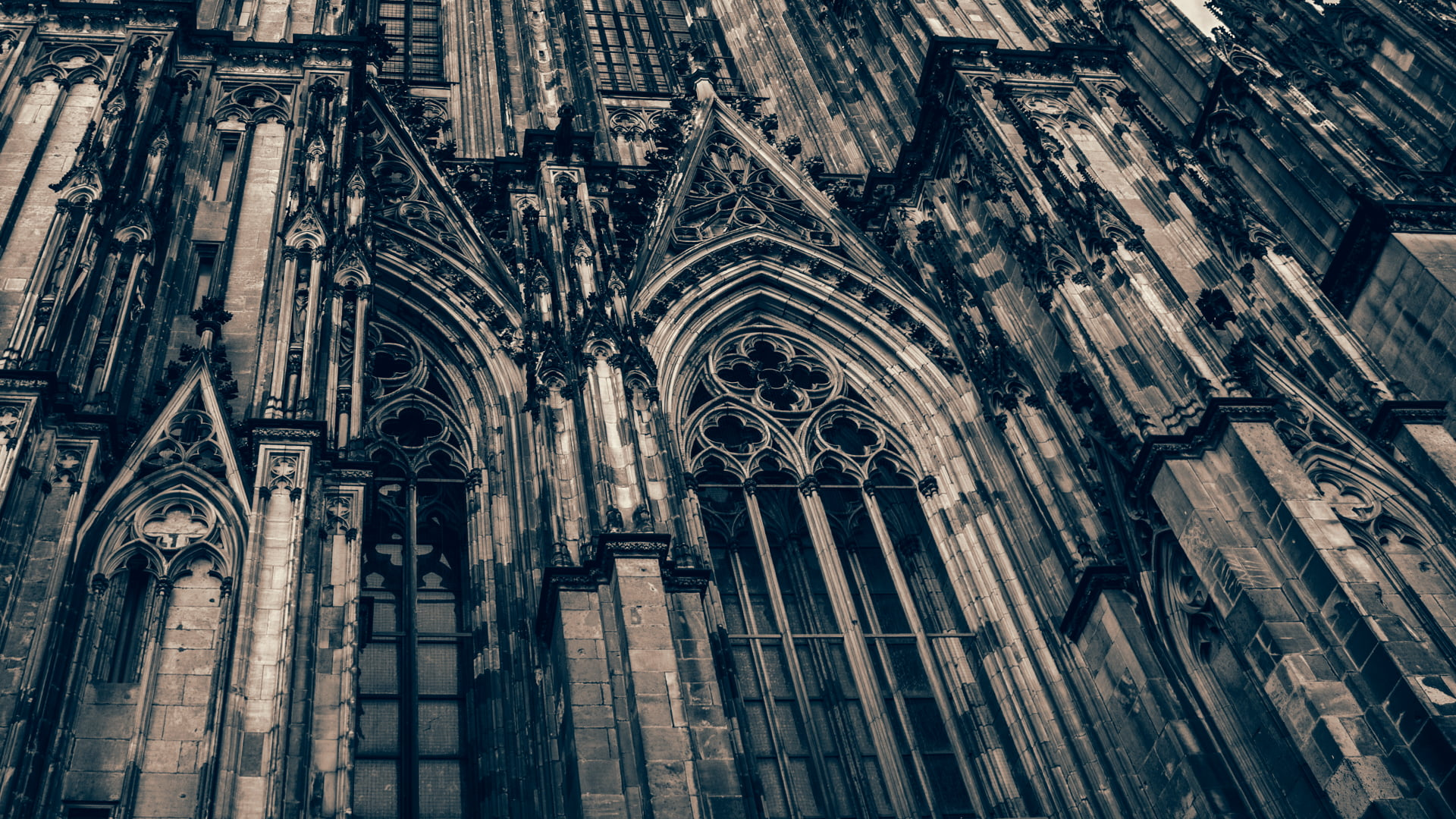 Beige building illustration Cologne Cologne Cathedral city 1920x1080