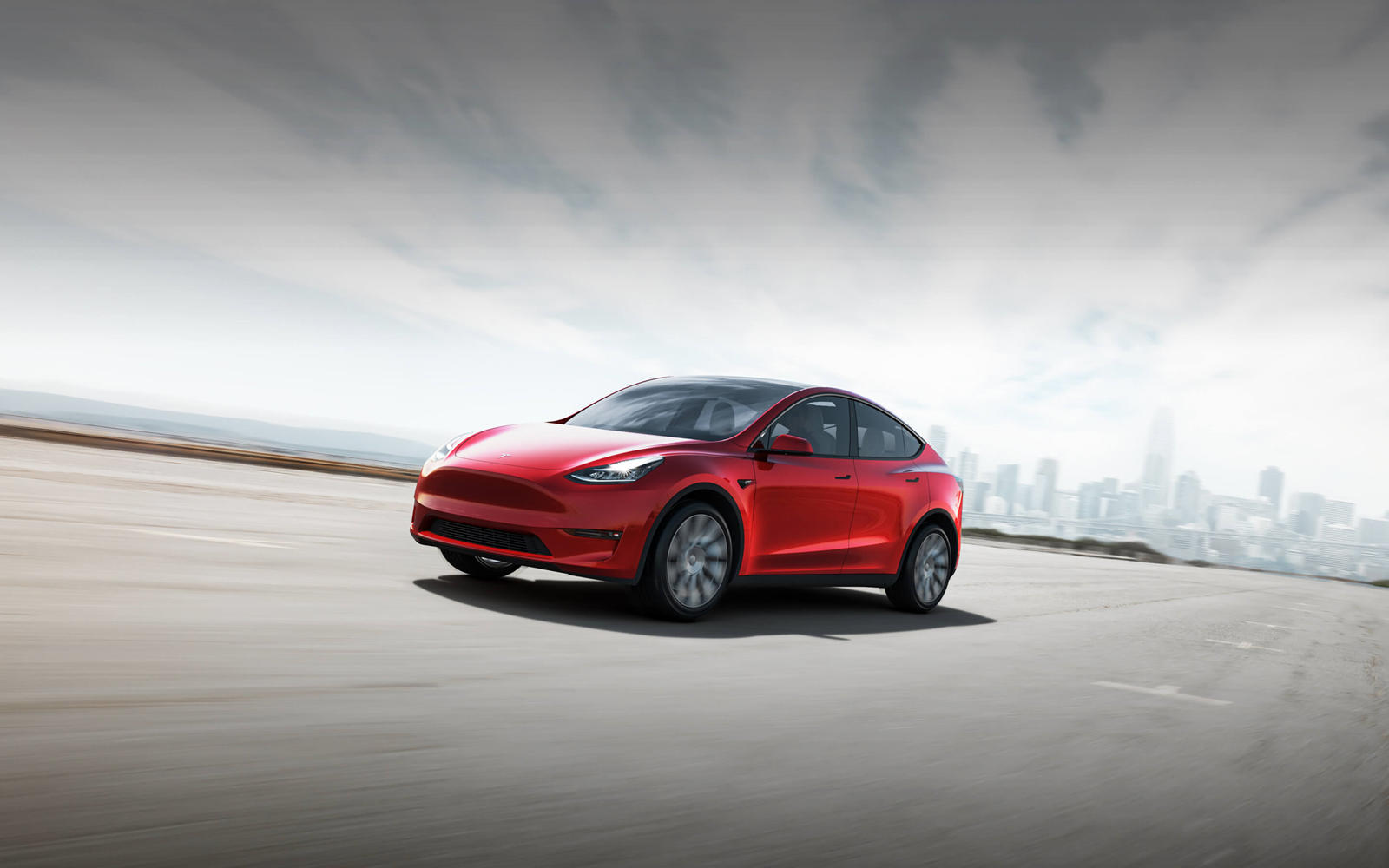 2021 Tesla Model Y Front Three Quarter Wallpapers 4   NewCarCars 1600x1000