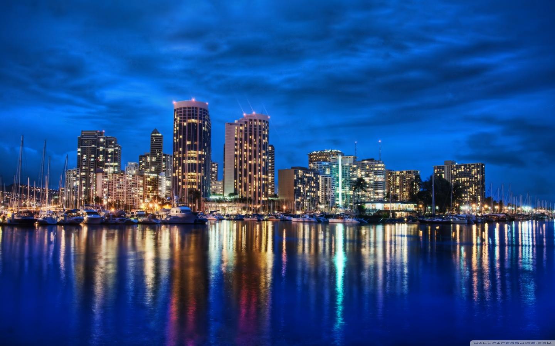 Waikiki Skyline At Night 4K HD Desktop Wallpaper for 4K Ultra 1440x900