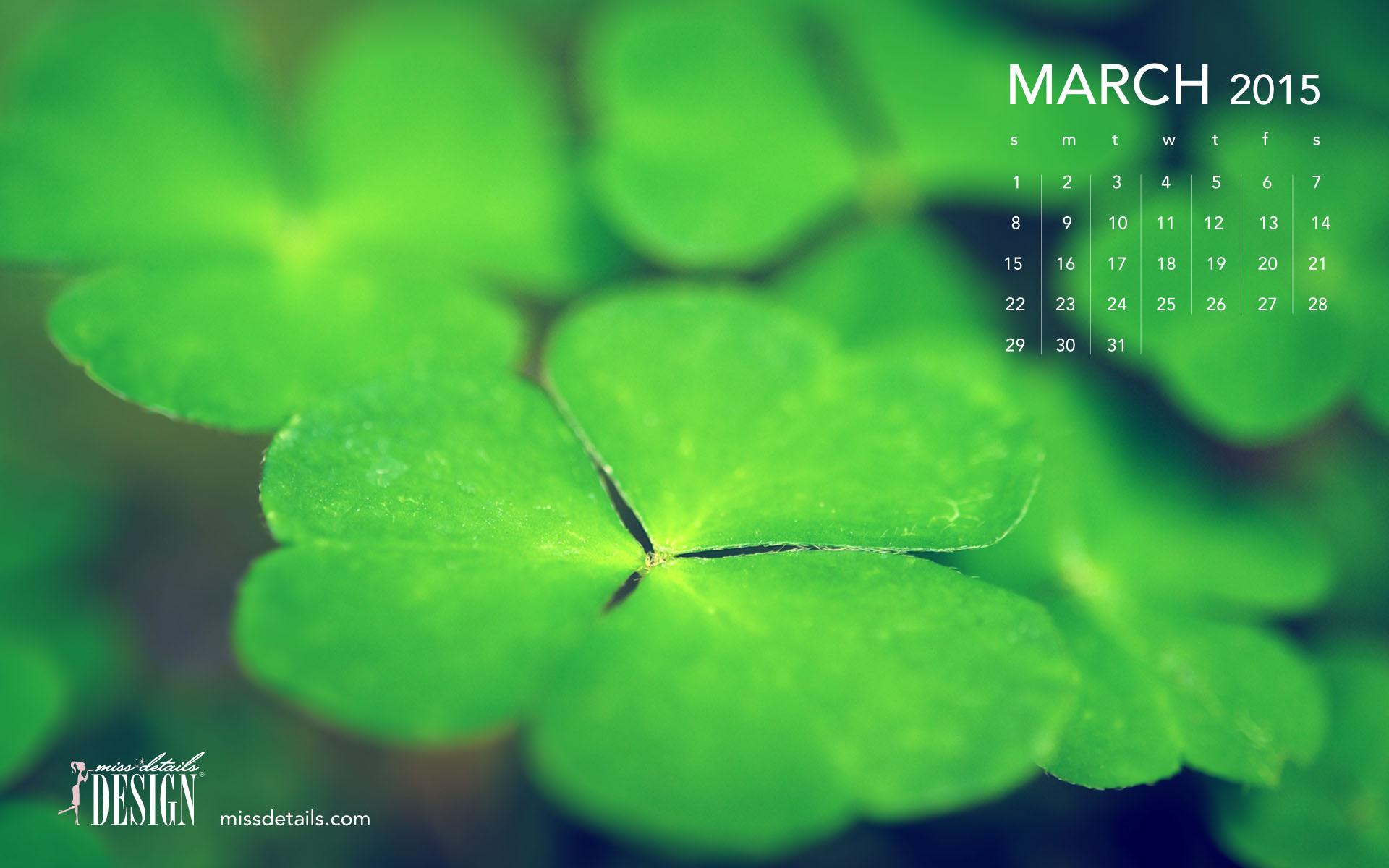 March 2015 desktop calendar from missdetailscom   Green Clovers 1920x1200