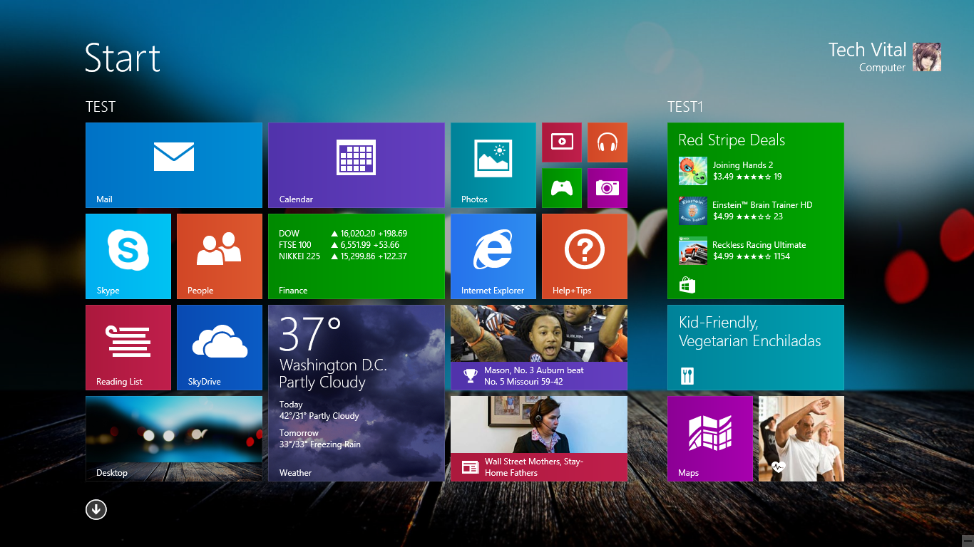 How To Change Windows 81 Start Background using Wallpaper Tech Vital 1366x768