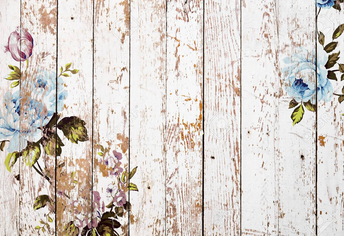 Shabby Chic Vintage Roses On White Grunge Wooden Texture 1300x893