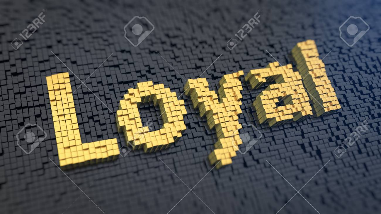 Word Loyal Of The Yellow Square Pixels On A Black Matrix 1300x731