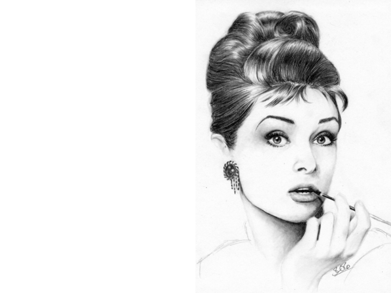 Audrey Hepburn Pencil Art Wallpapers HD 1600x1200