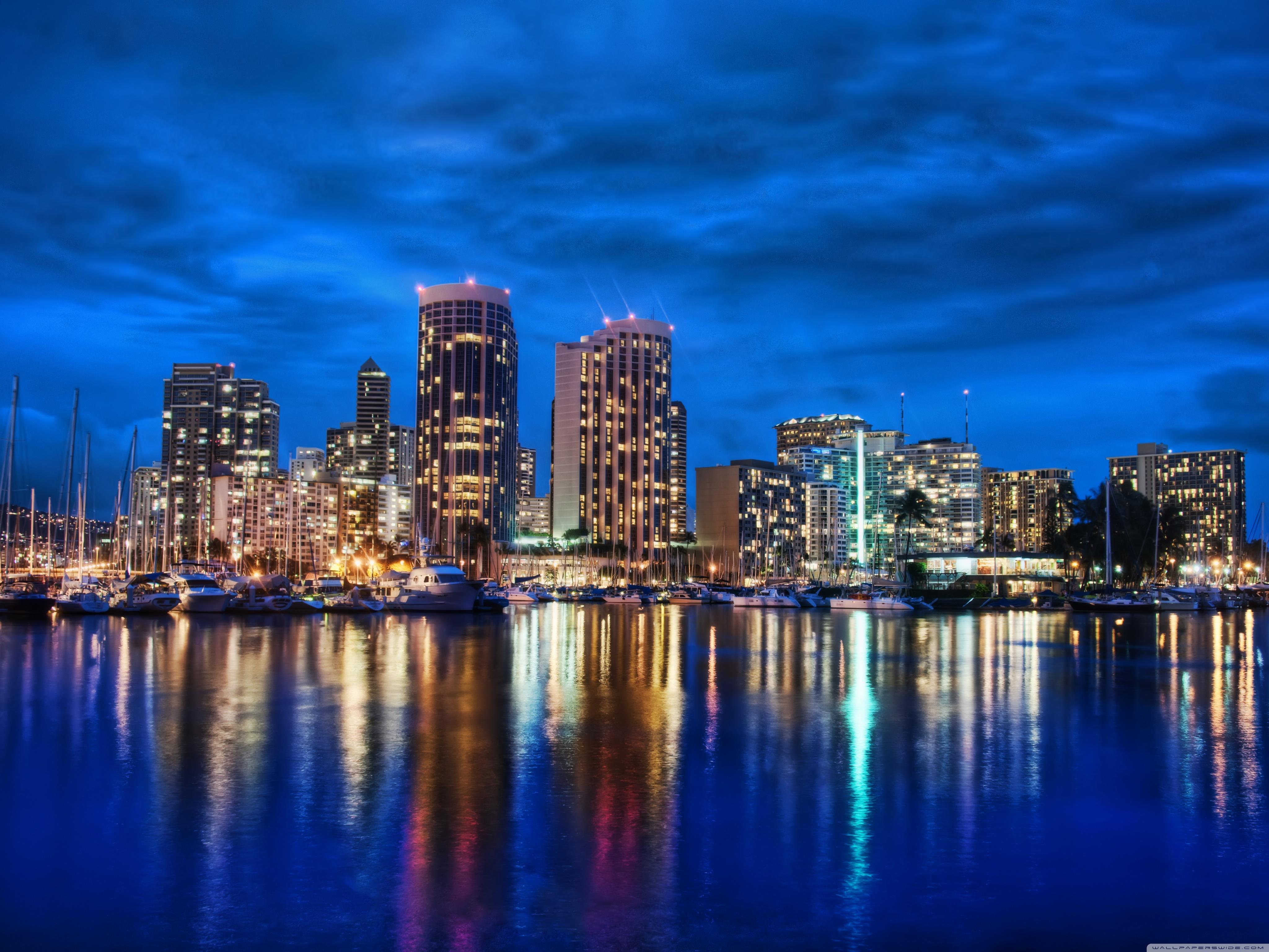Waikiki Skyline At Night 4K HD Desktop Wallpaper for 4K Ultra 4096x3072