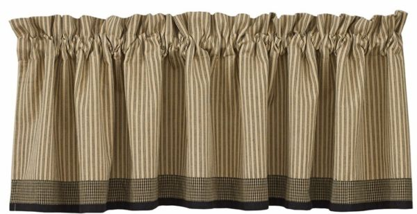 Primitive Star Border Valance Rustic Black Ticking Stripe Country Log 600x309
