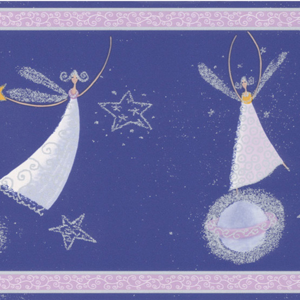 Brewster Dark Blue Celestial Fairy Border Wallpaper   15214778 600x600
