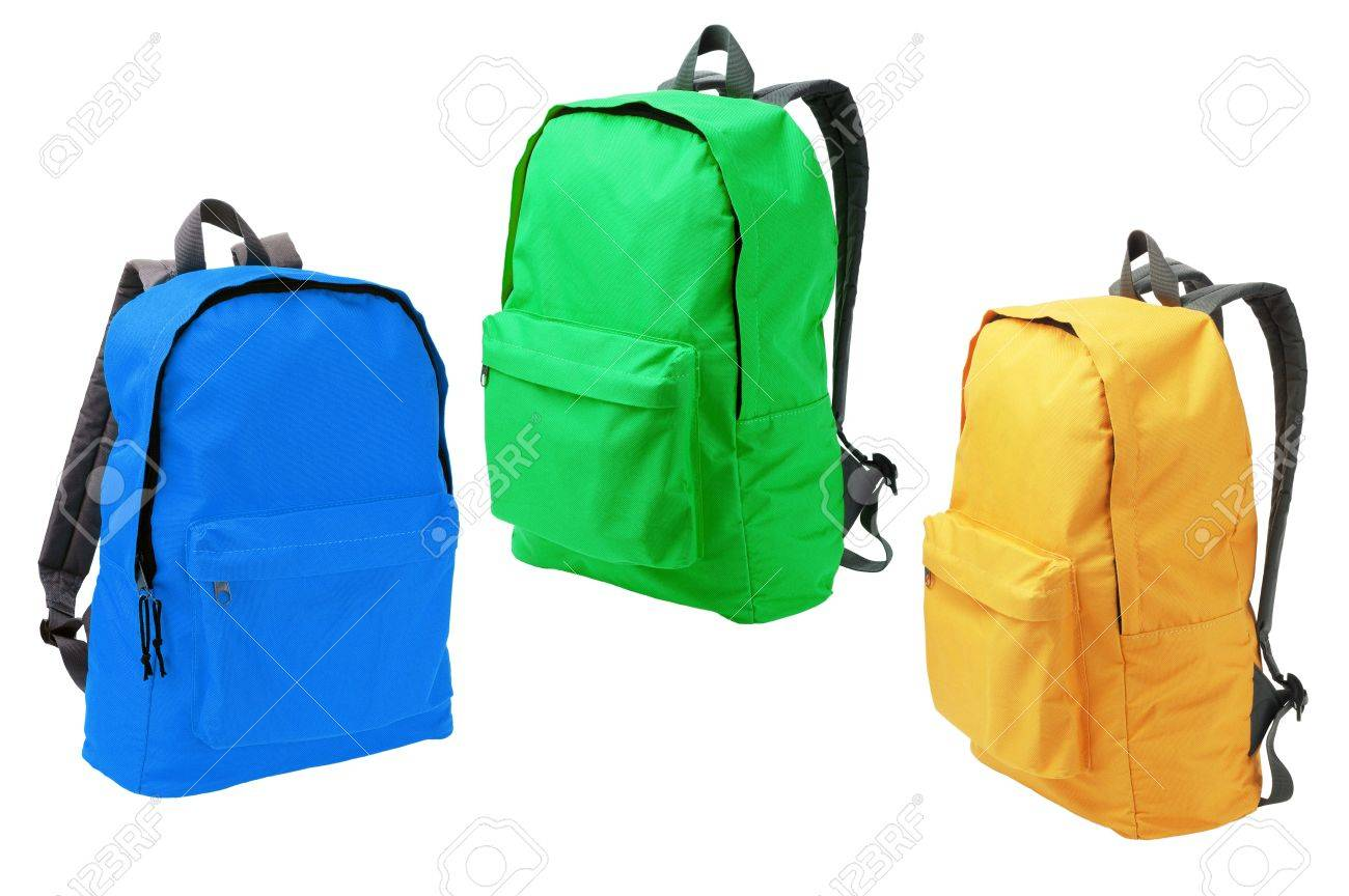 Three Colorful Backpacks Standing On White Background Stock Photo 1300x864