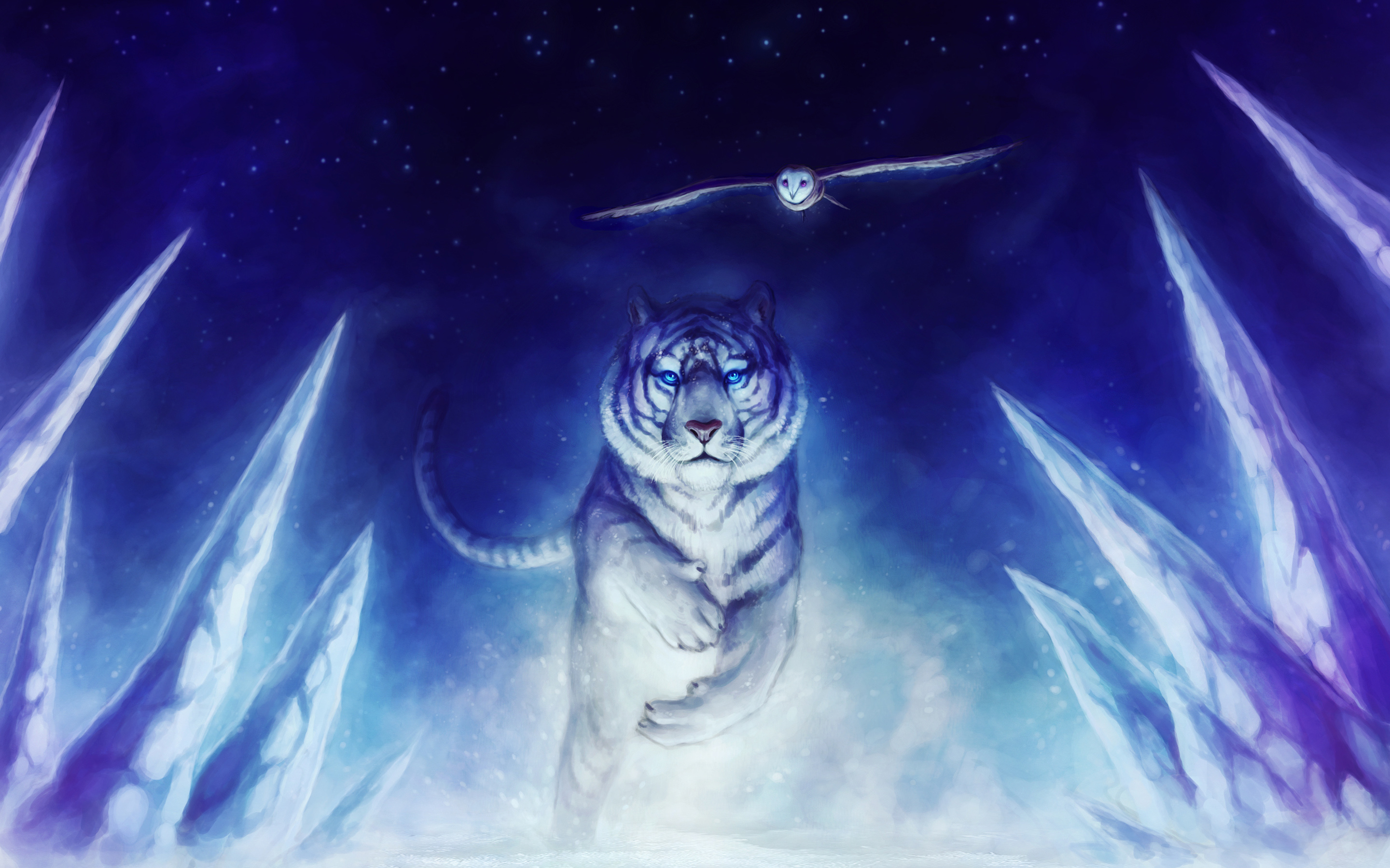 White Tiger Owl Art Exclusive HD Wallpapers 2205 2880x1800