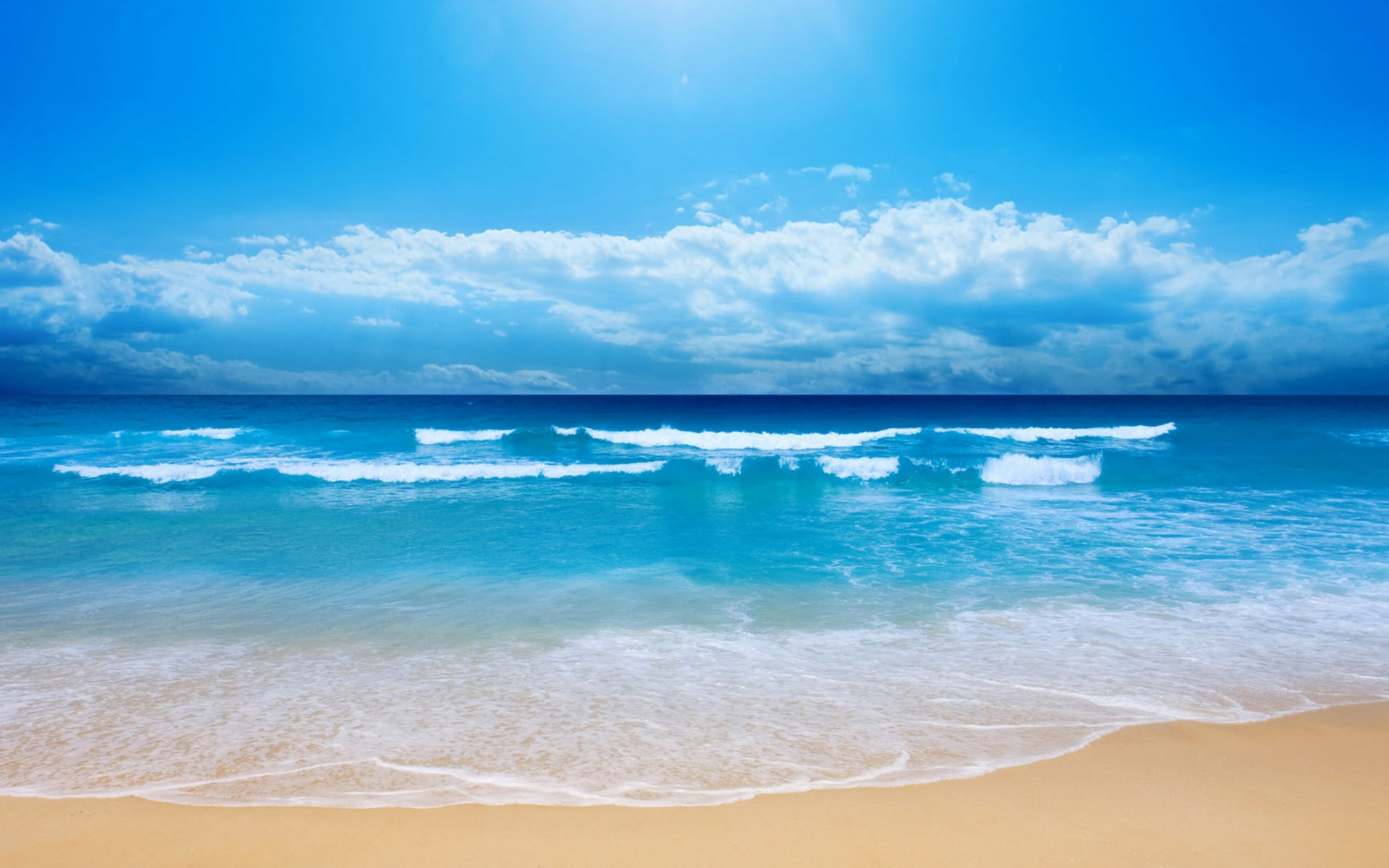 Blue Ocean Wallpaper 2560x1600 Blue, Ocean, Clouds, Landscapes, Nature ...