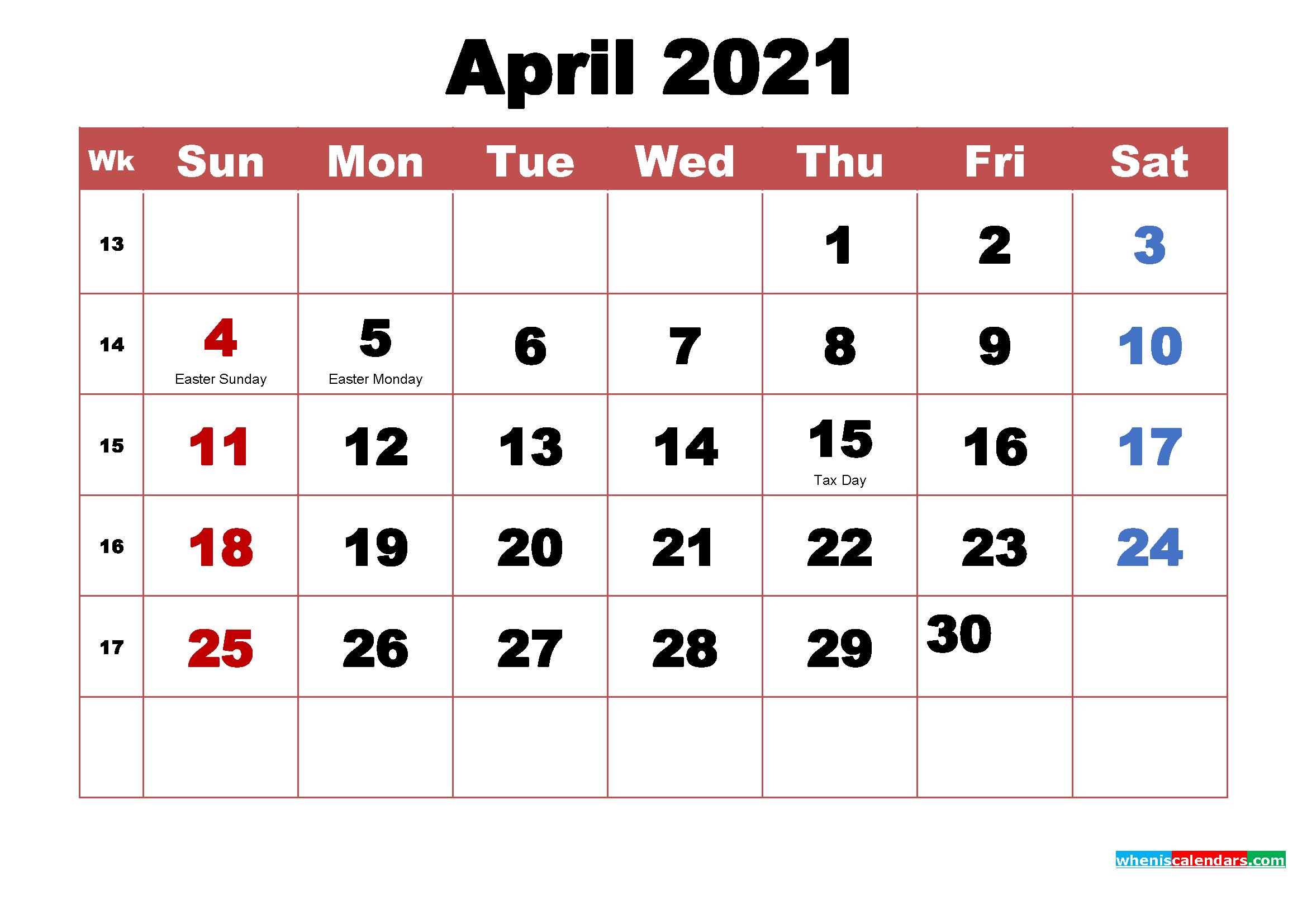 April 2021 Calendar Wallpaper High Resolution Printable 2339x1654