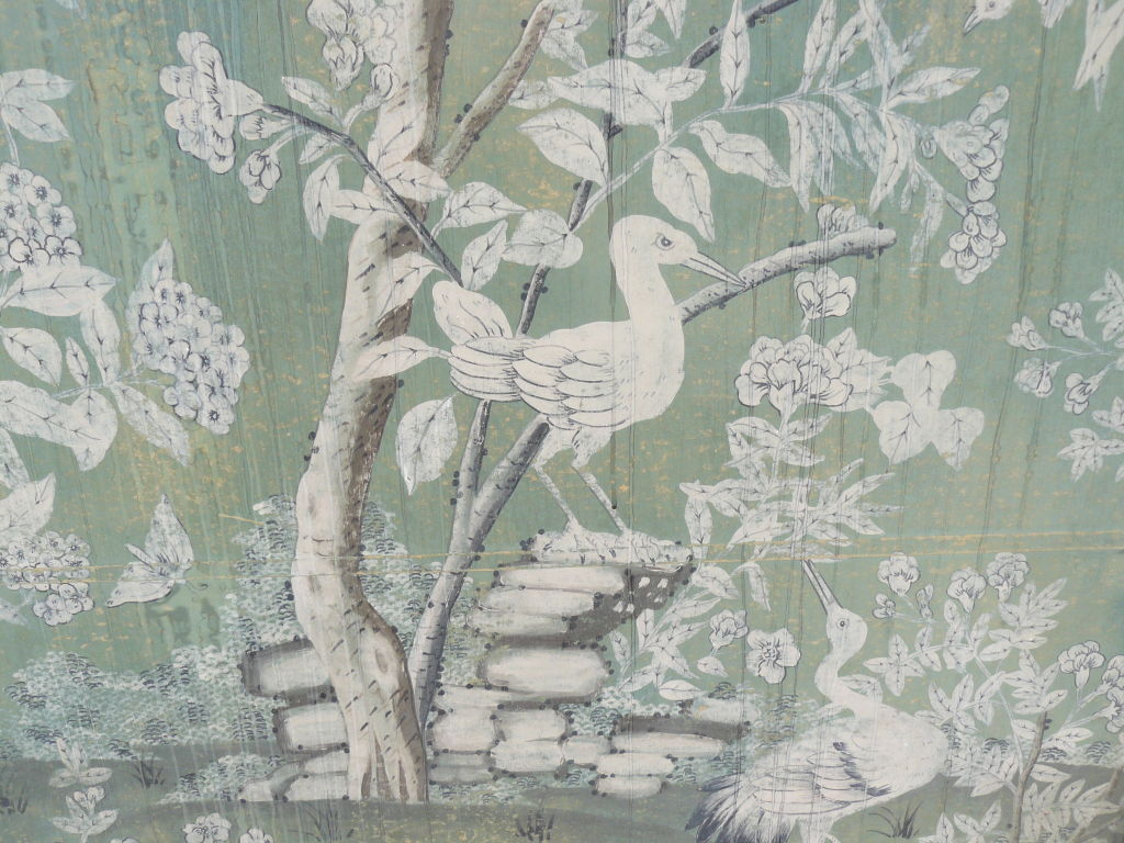 Large 30s French Chinoiserie Hand Painted Framed WallPaper Panel image 1024x768