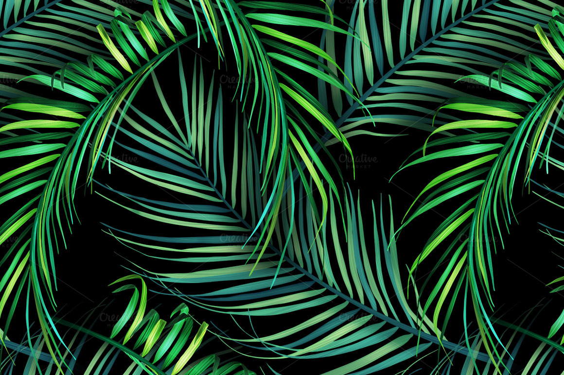 Jungle palm leaves Tropical pattern Patterns on Creative Market 1160x772