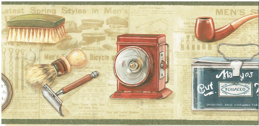 Watches Cigars Tobacco Pipes and Cameras Wallpaper Border Wall eBay 1000x488