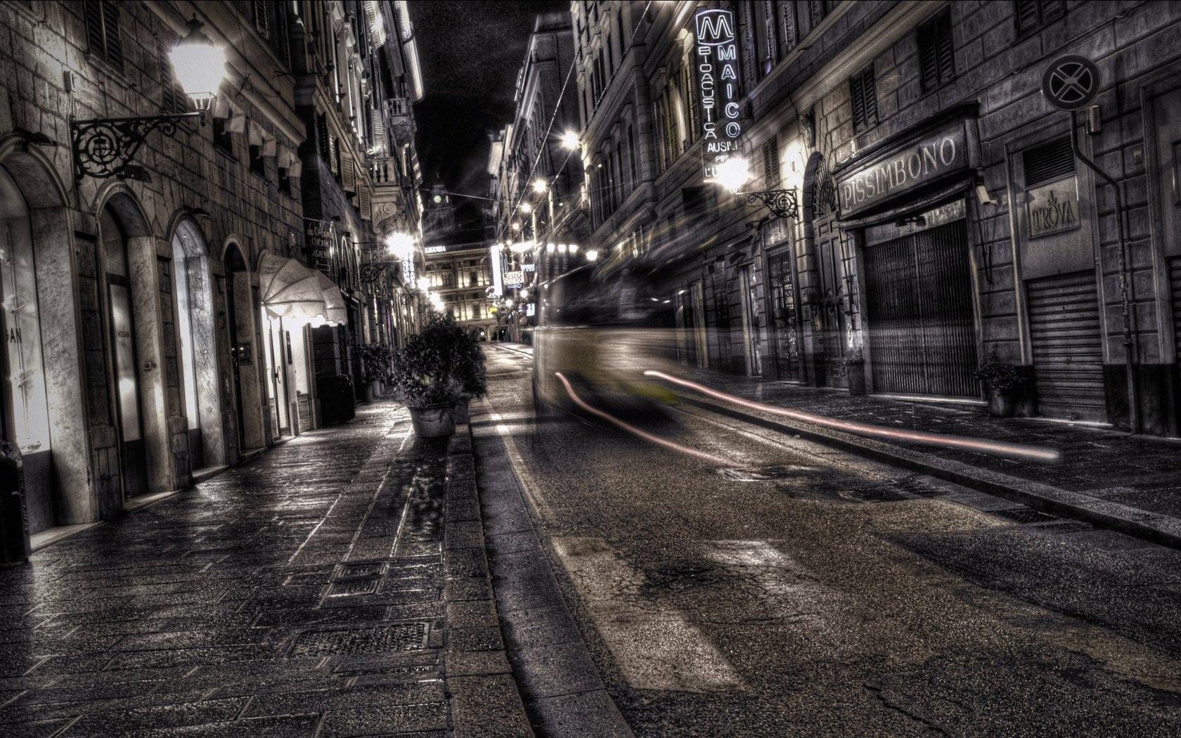 Dark city street Widescreen Wallpaper   6067 1680x1050