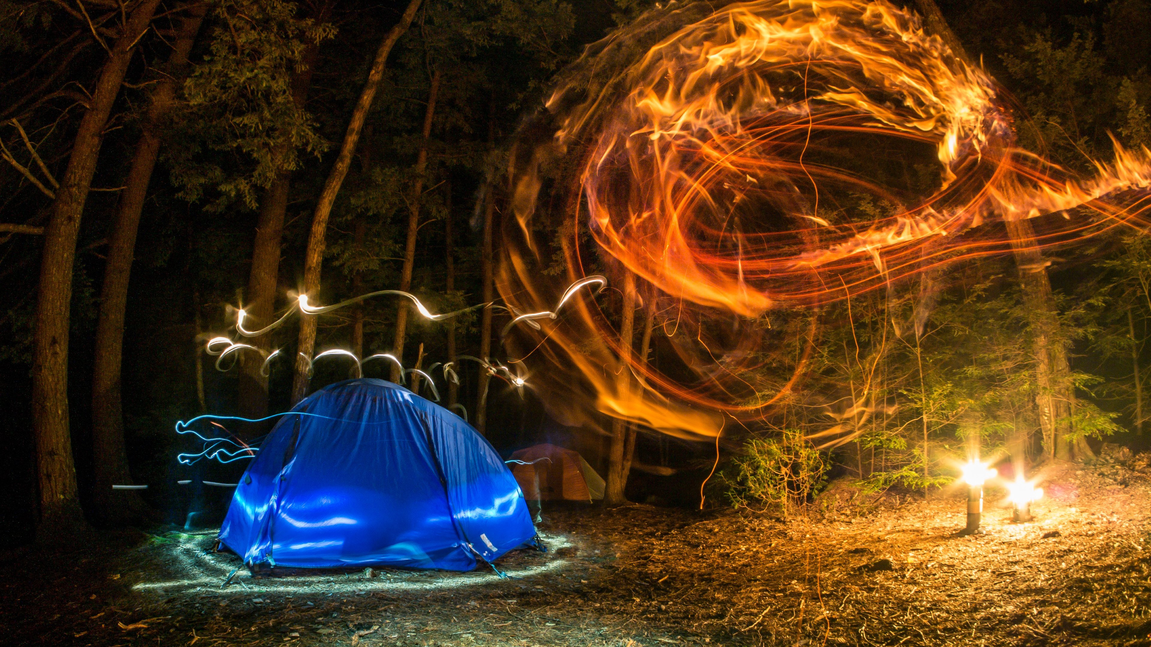 Camping Forest Night Lights Creativity Wallpapers HD Wallpapers 3840x2160