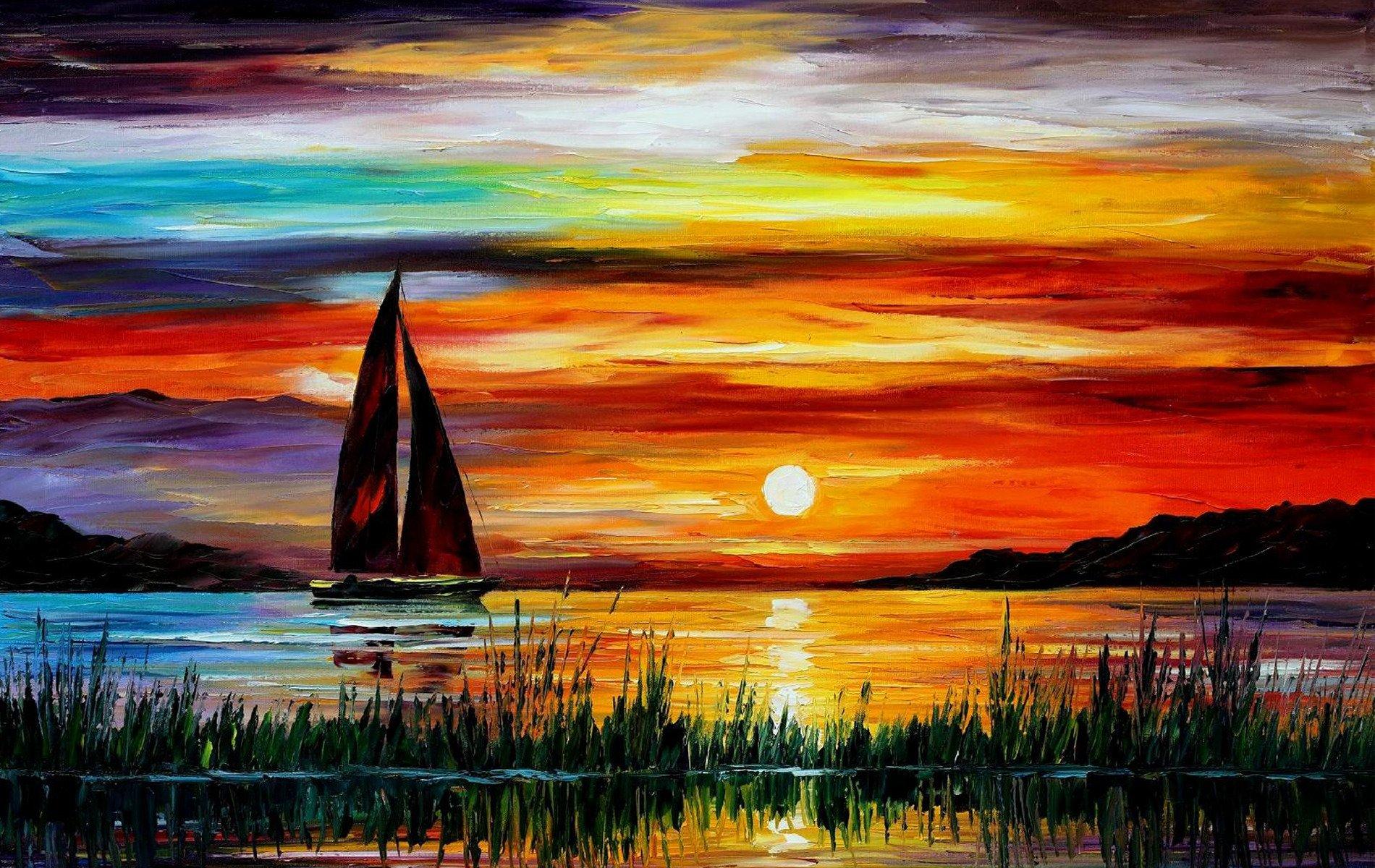 Florida Leonid Afremov Sonnenuntergang Meer Boot Malerei 1900x1200