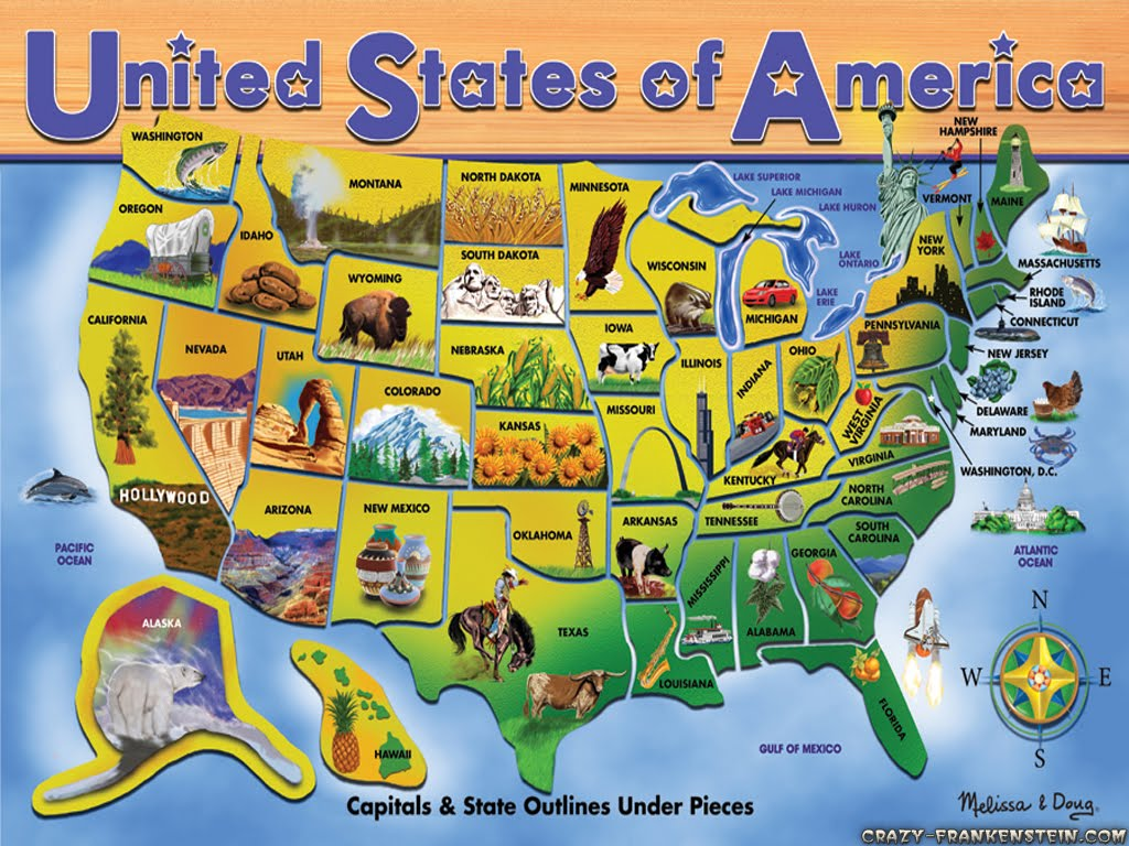 USA States And Capitals Map Create Your Visited States And - Us map trivia