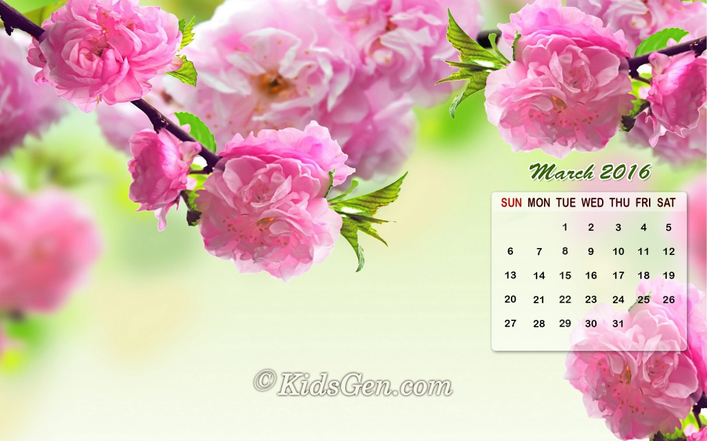 March Calendar Wallpaper 2016   Kidsgen Wallpaper 1024x640