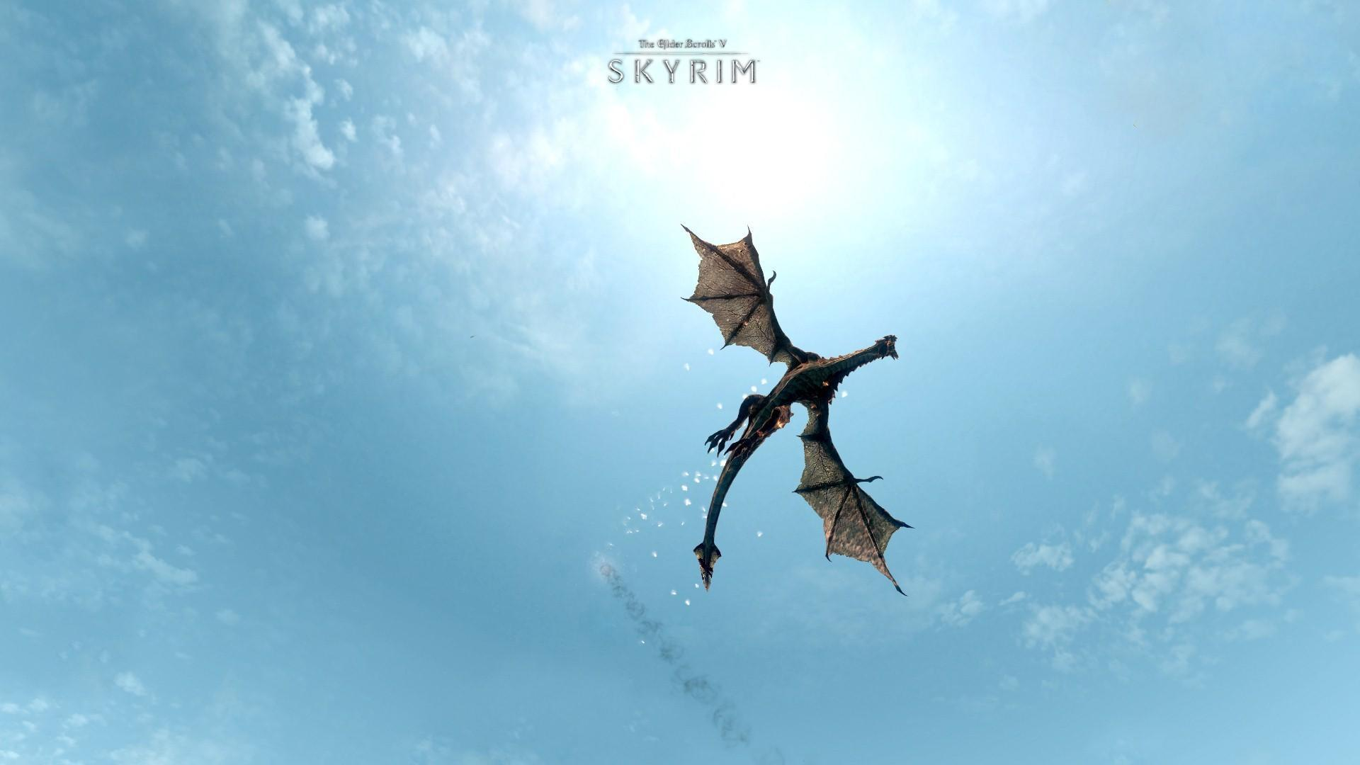 Wallpaper The Elder Scrolls V Skyrim flying dragon The Elder 1920x1080