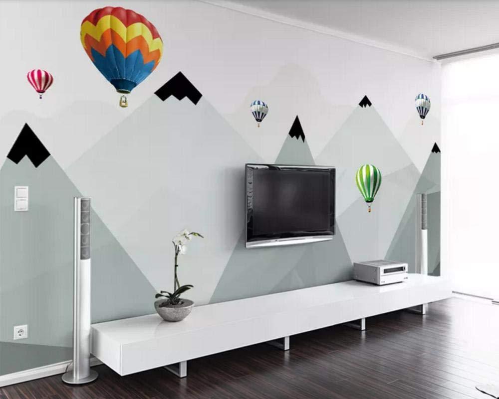 Wall Mural 3D Wallpaper Simple Hot Air Balloon Geometric Mountain 1000x801