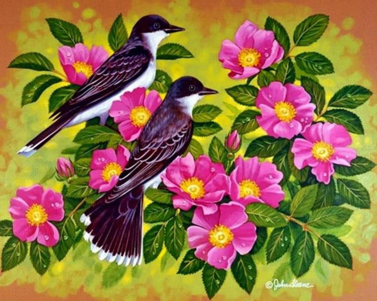 birds and flowers   129698   High Quality and Resolution Wallpapers 1280x1024