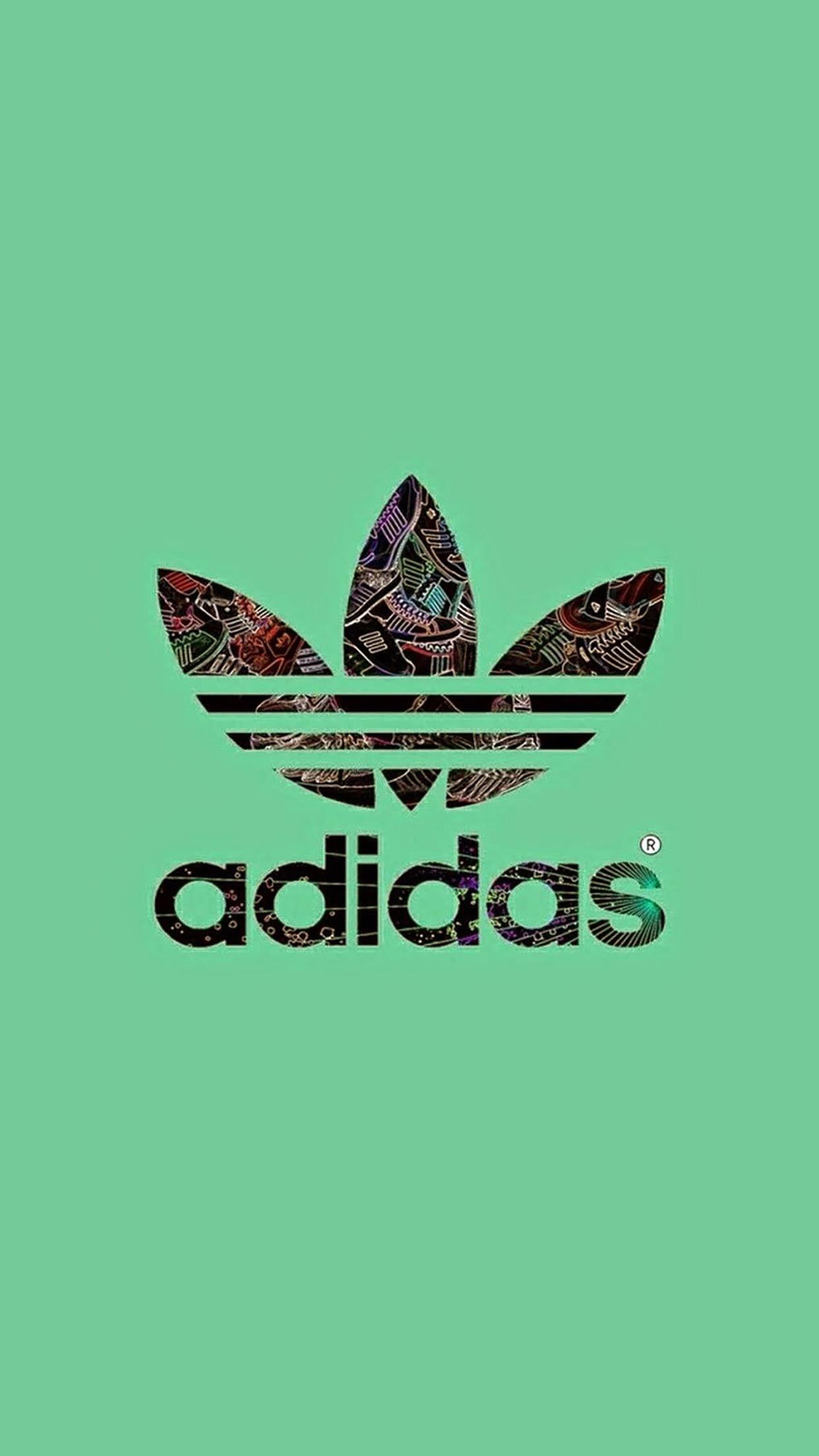 Wallpaper HD iPhone Adidas logo green background 1242x2208