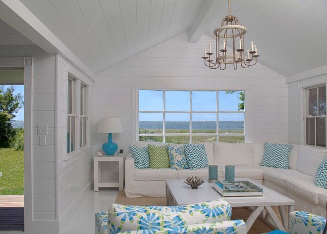 Shiplap Living room Cottage Shiplap Living room with white and 660x473