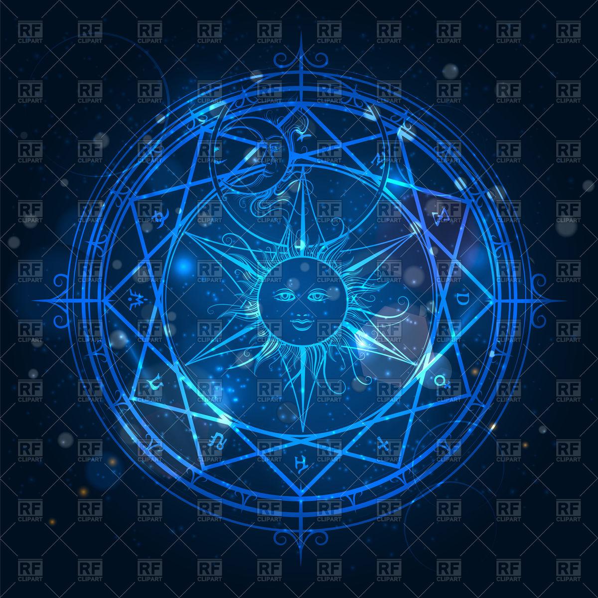 Alchemy magic circle on shining blue background Vector Image of 1200x1200