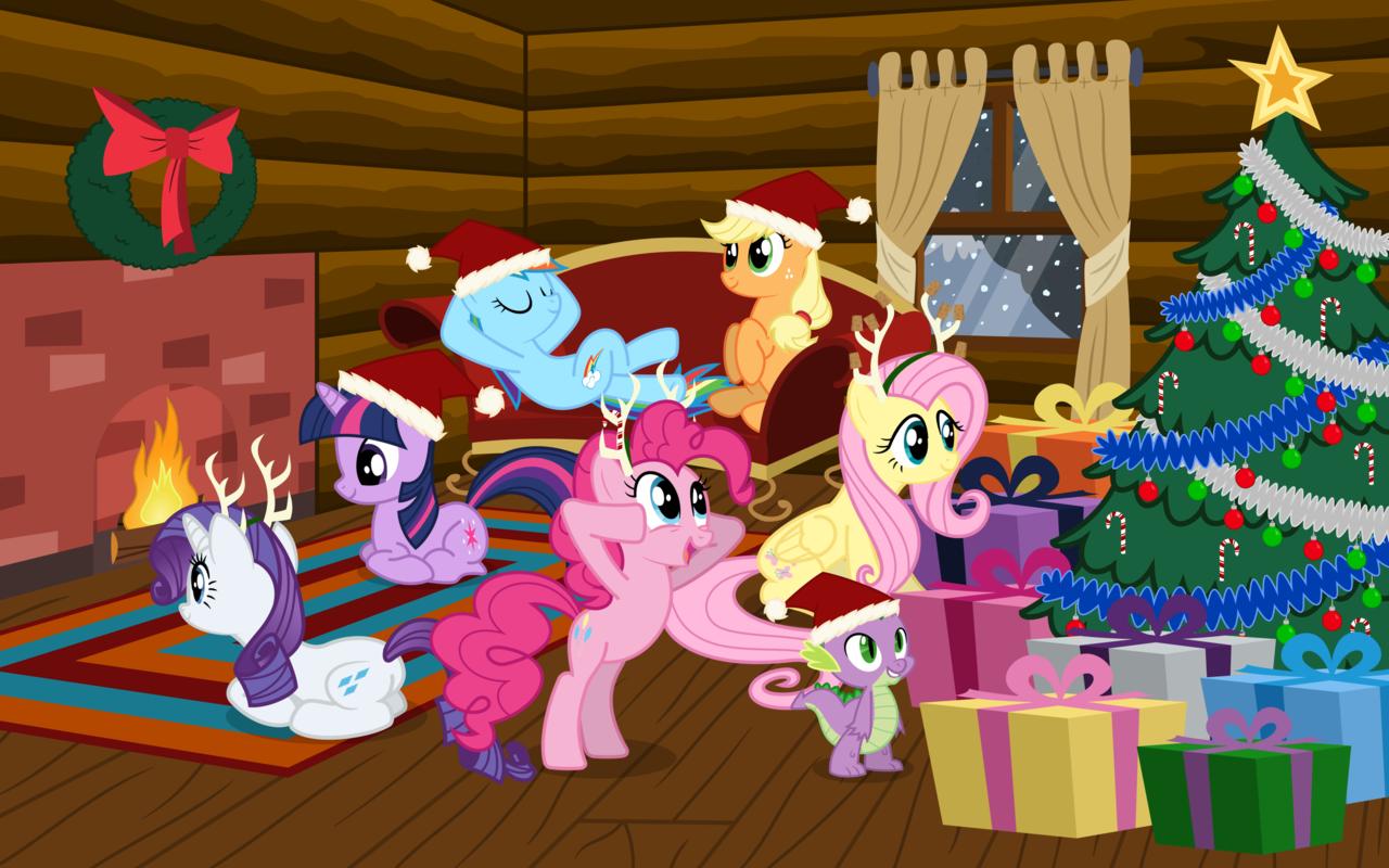 my little pony christmas wallpaper wallpapersafari