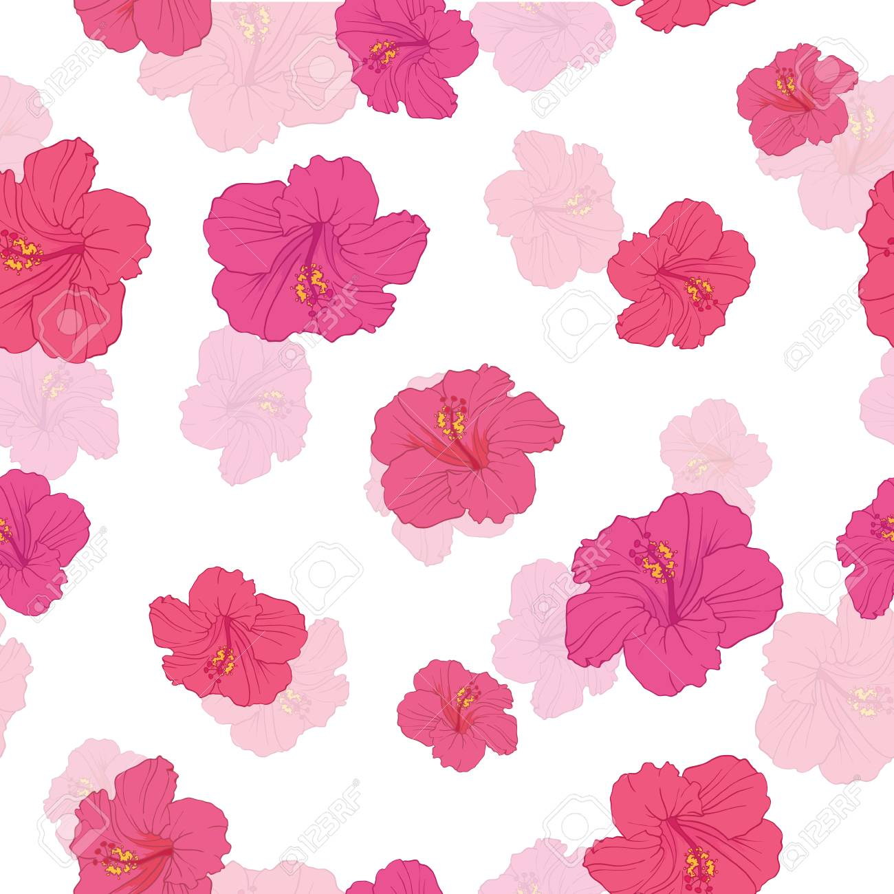 Pink Hibiscus Flowers Seamless Repeat Pattern Great For Summer 1300x1300