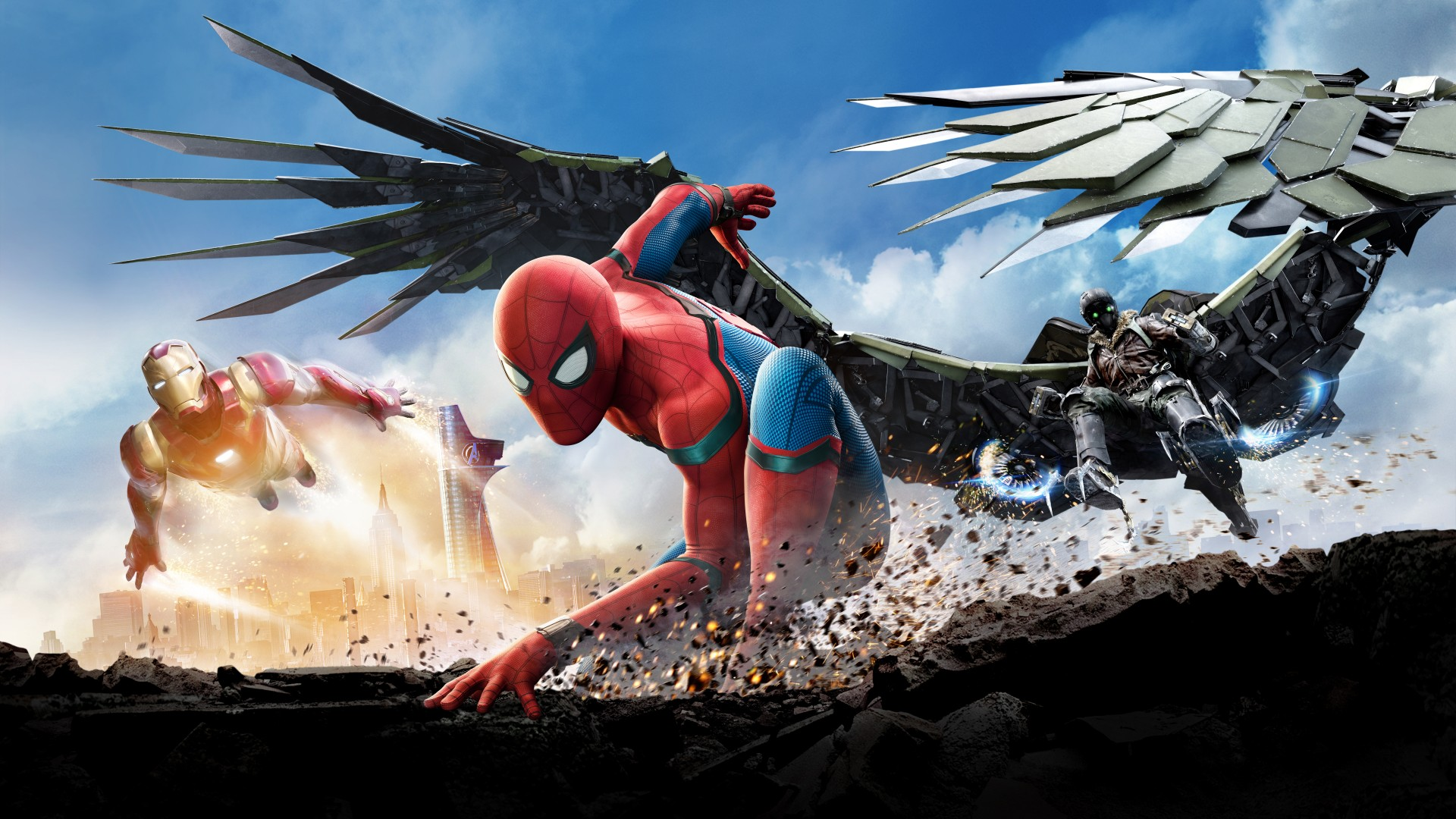 Spider Man Homecoming Iron Man Vulture Wallpaper   Wallpaper Stream 1920x1080
