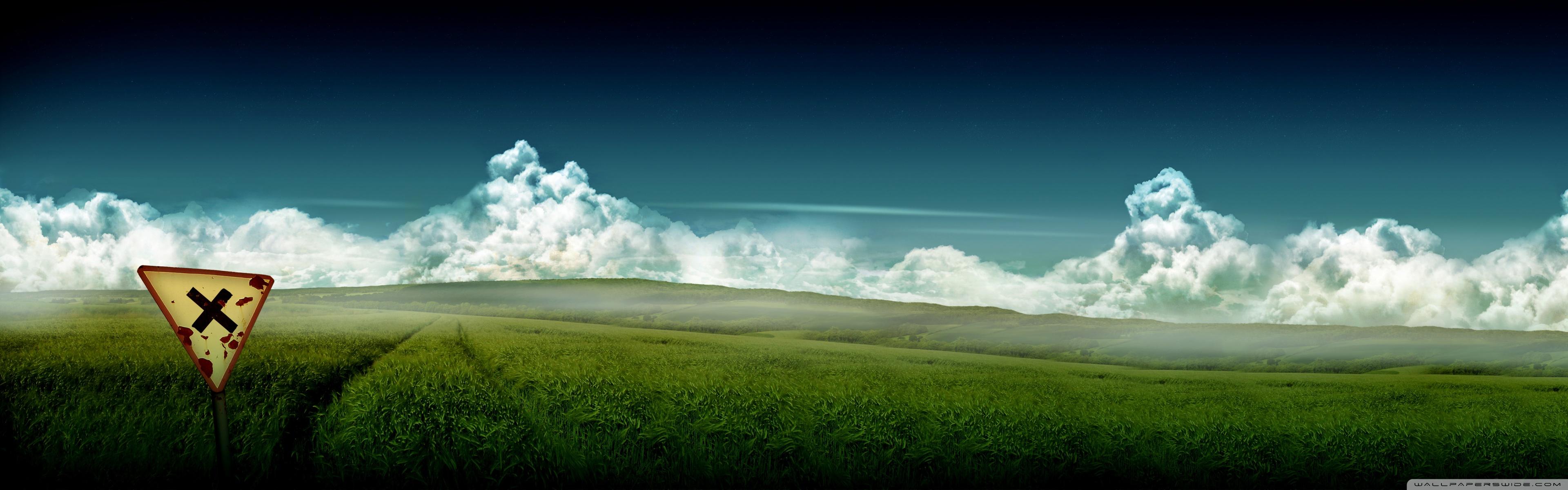 Artistic Wheat Field Wallpaper 38401200 276234 HD Wallpaper Res 3840x1200