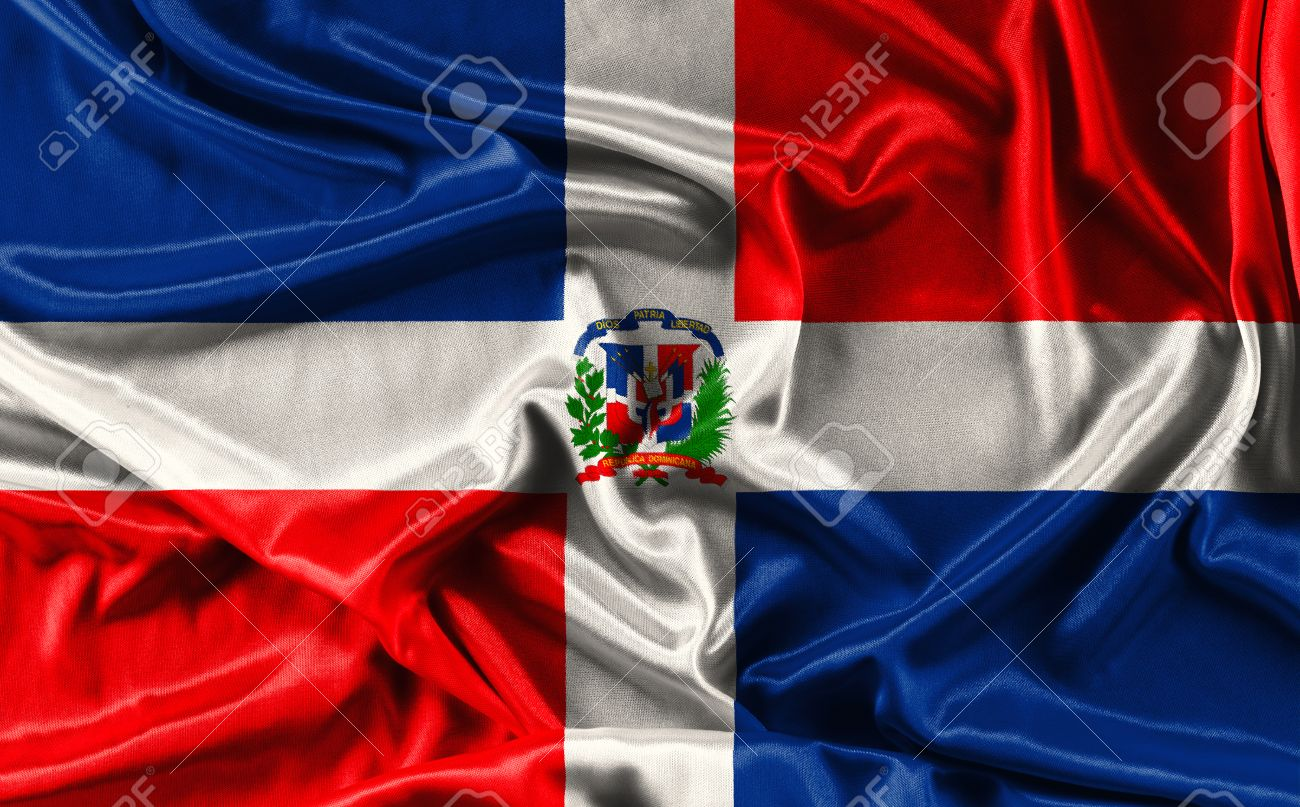 Flag Of Dominican Republic Waving Fabric Background Wallpapers 1300x807