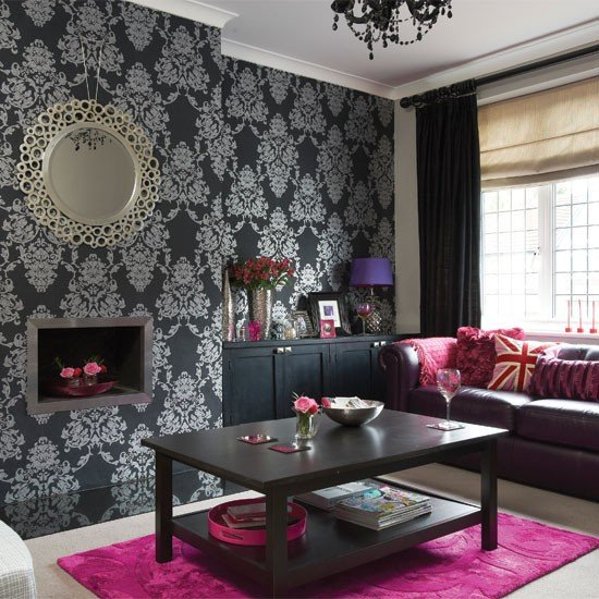 Black and silver wallpaper pink accessories and bursts of rich plum 550x550