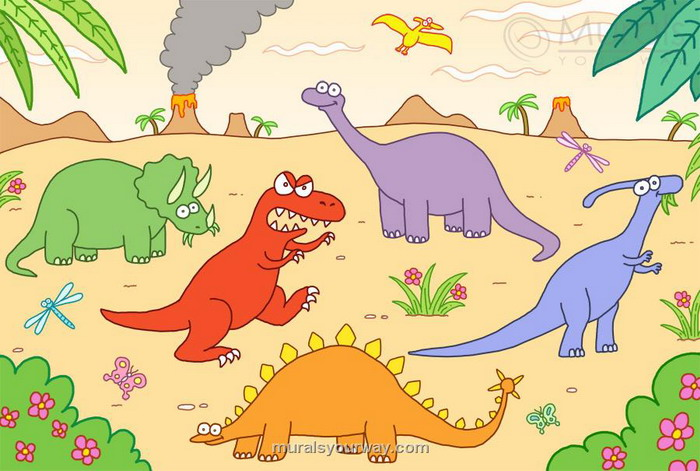 Dinosaur wallpaper for kids room wallpapersafari for Dinosaur themed kids room