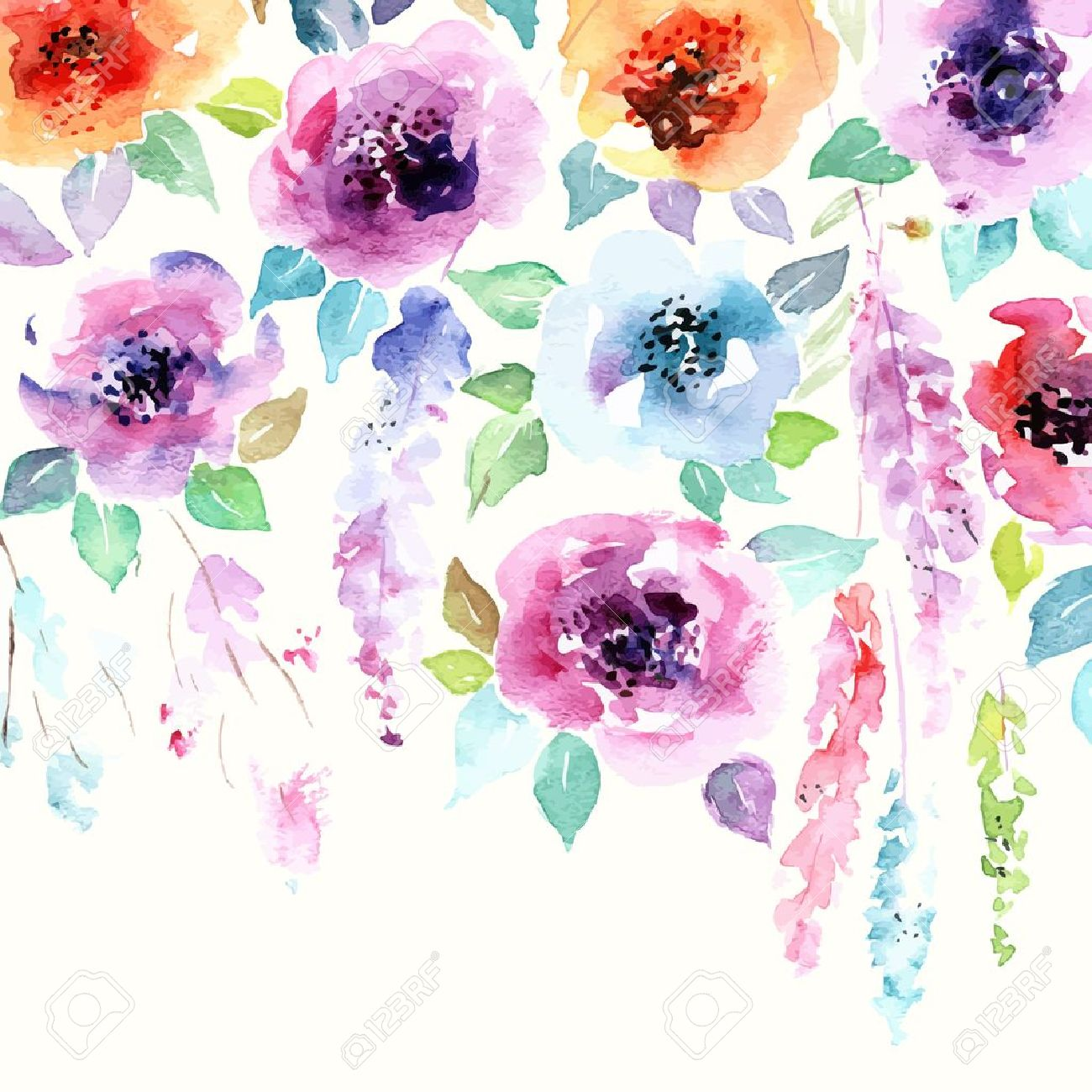 Floral Background Watercolor Floral Bouquet Birthday Card 1300x1300