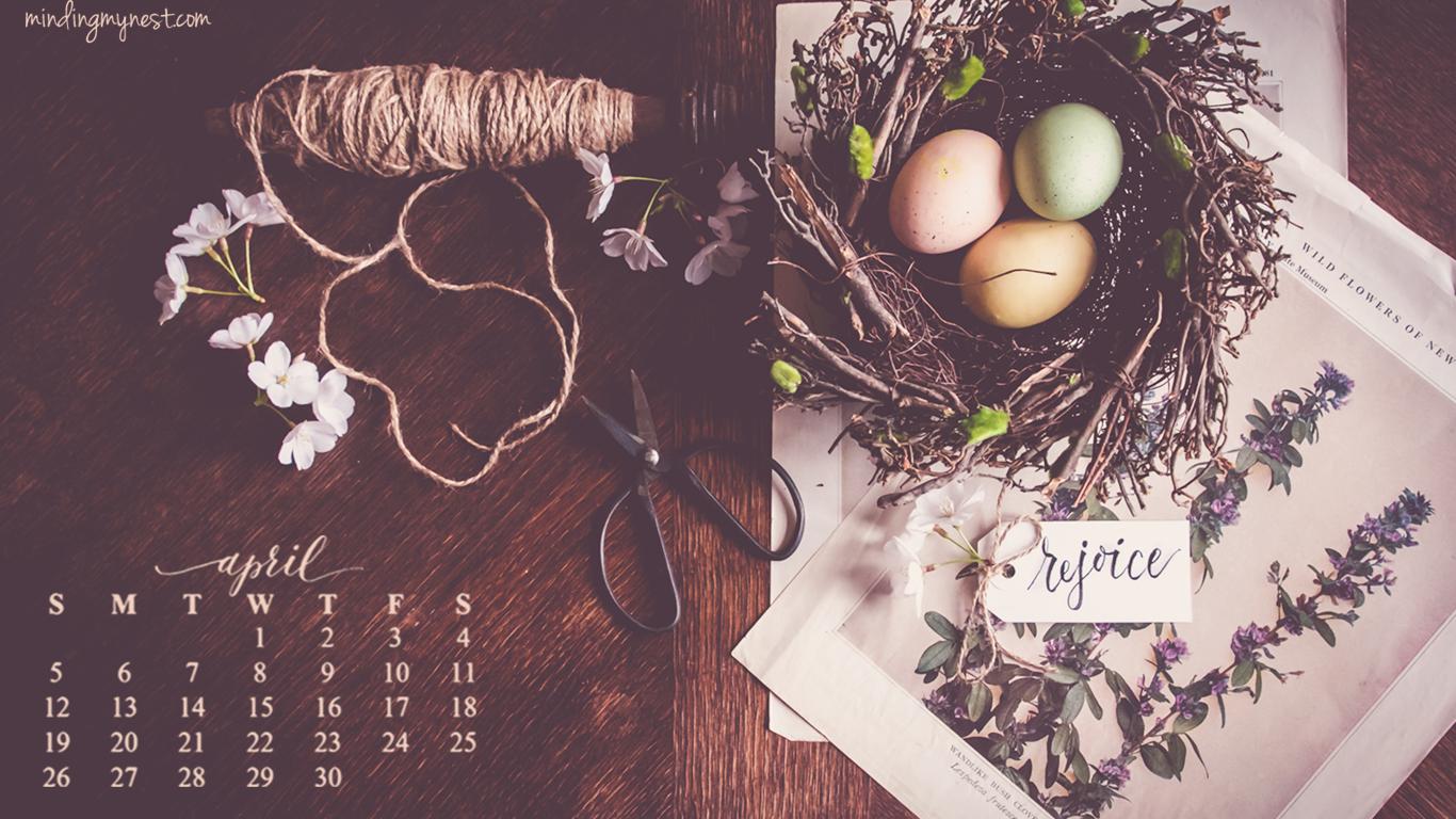 free desktop wallpaper for april 2015 calendar 1366x768