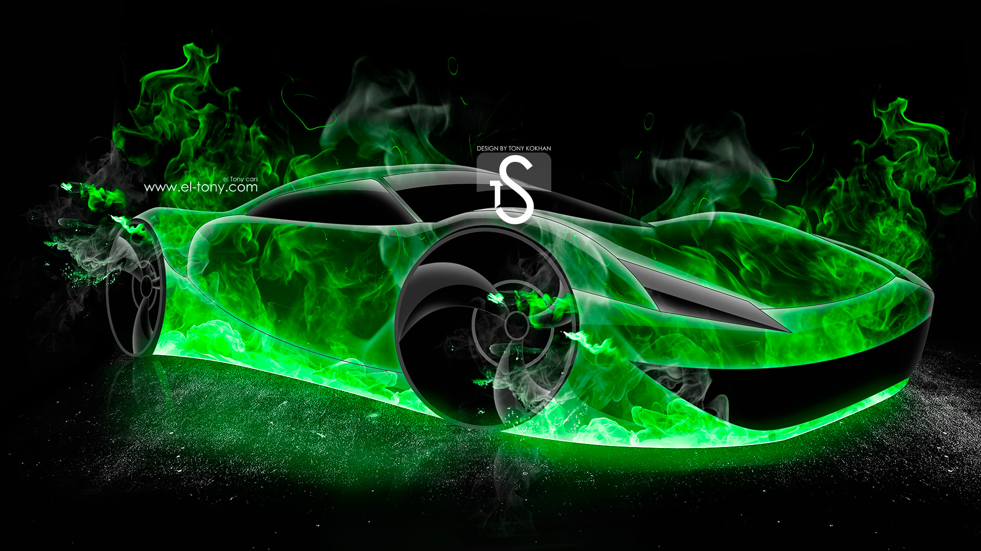 TS Green Fire Abstract Car 2013 HD Wallpapers design by Tony Kokhan 1920x1080