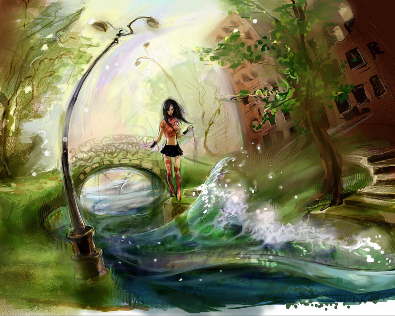 Beautiful Women Artistic Paintings Desktop Backgrounds Wallpaper 1280x1024