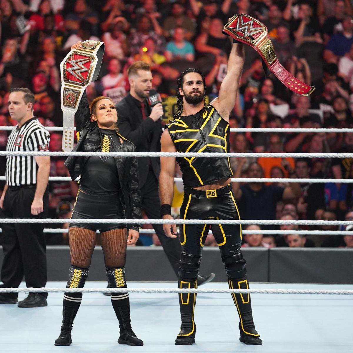 Seth Rollins Becky Lynch vs Baron Corbin Lacey Evans 1200x1200