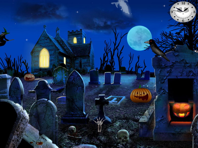 Halloween Screensavers   Graveyard Party   FullScreensaverscom 800x600