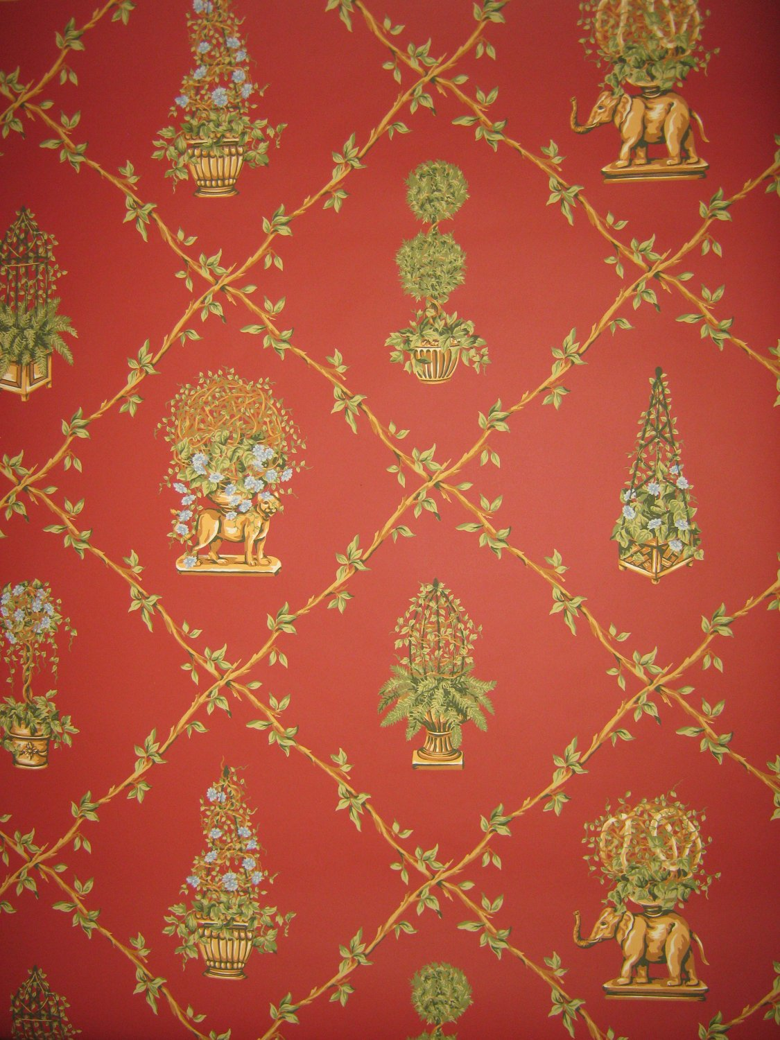 roll Thibaut East Indian inspired trellis wallpaper From NYCwallpaper 1125x1500